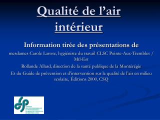 Qualit� de l�air int�rieur