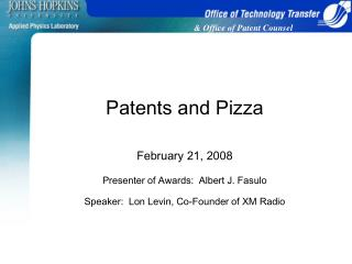 Patents and Pizza