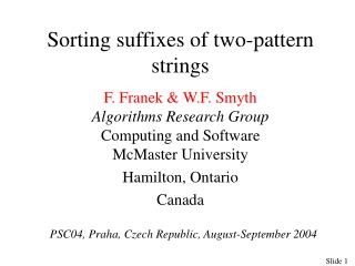 Sorting suffixes of two-pattern strings
