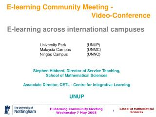 Stephen Hibberd, Director of Service Teaching, School of Mathematical Sciences