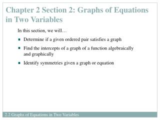 Chapter 2 Section 2: Graphs of Equations in Two Variables