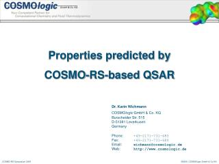 Properties predicted by  COSMO-RS-based QSAR