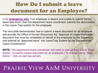 How Do I submit a leave document for an Employee?