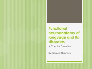 Functional  neuroanatomy  of language and its disorders