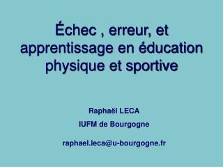 Échec , erreur, et apprentissage en éducation physique et sportive