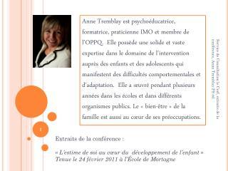 Extraits de la conférence : «L'estime de soi au cœur du  développement de l'enfant»