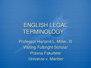 ENGLISH LEGAL TERMINOLOGY