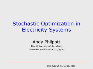 Stochastic Optimization in  Electricity Systems