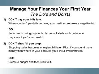 Manage Your Finances Your First Year The Do's and Don'ts