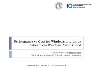 Performance  vs  Cost for Windows and Linux Platforms in Windows Azure Cloud