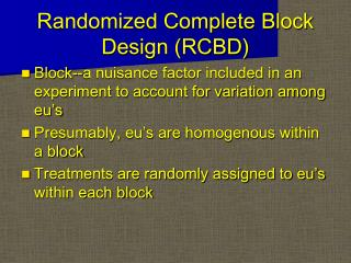 Randomized Complete Block Design RCBD
