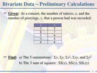 Bivariate Data ~ Preliminary Calculations