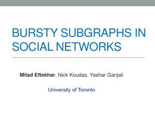 Bursty Subgraphs in Social Networks
