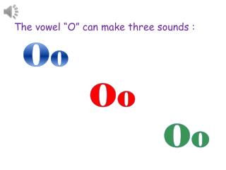 "The vowel ""O"" can  m ake  t hree  s ounds  :"