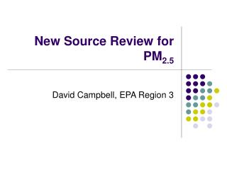 New Source Review for PM2.5