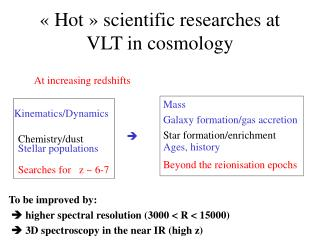 ��Hot�� scientific researches at VLT in cosmology