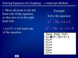 Solving Equations by Graphing -  x-intercept Method