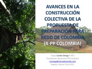 Sergio  Camilo Ortega  P.  MSc Coordinador Desarrollo R-PP Colombia scortega@mercadosverdes