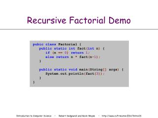 Recursive Factorial Demo