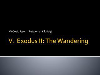 V.  Exodus II: The Wandering