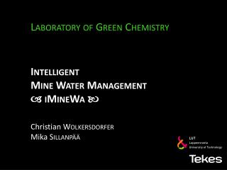 Intelligent Mine  Water Management    iMineWa  