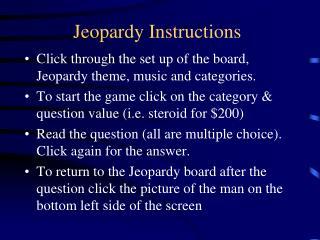 Jeopardy Instructions