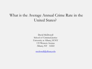 What is the Average Annual Crime Rate in the United States?