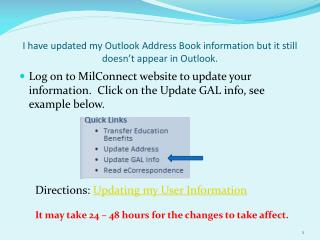 I have updated my Outlook Address Book information but it still doesn't appear in Outlook.