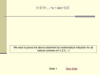 1+2+3+…+n = n(n+1)/2