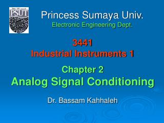 3441 Industrial Instruments 1 Chapter 2 Analog Signal Conditioning