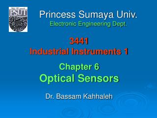 3441 Industrial Instruments 1 Chapter 6 Optical Sensors