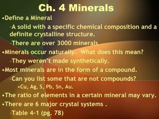 Ch. 4 Minerals