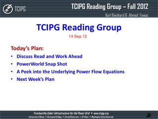 TCIPG Reading Group
