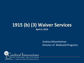 1915 (b) (3) Waiver Services April 2, 2014