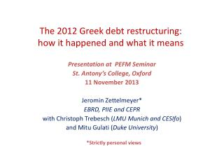 The 2012 Greek debt restructuring: how it happened and what it means
