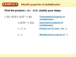 Multiplicative property of  – 1 .