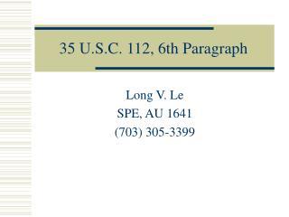 35 U.S.C. 112, 6th Paragraph