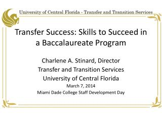 Transfer Success: Skills to Succeed in a Baccalaureate Program