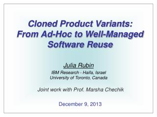 Cloned Product Variants: From Ad-Hoc to Well-Managed Software Reuse