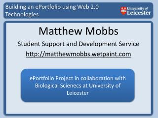 Building an  ePortfolio  using Web 2.0 Technologies