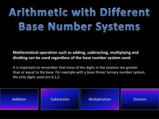 Arithmetic with Different Base Number Systems