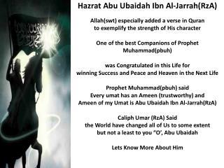 Hazrat  Abu  Ubaidah Ibn  Al- Jarrah ( RzA )