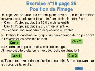Exercice n°19 page 25 Position de l'image