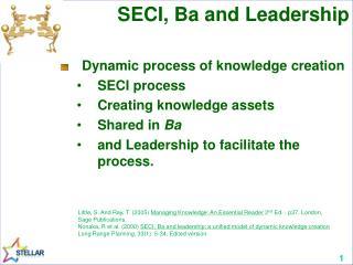 SECI, Ba and Leadership