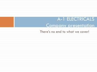 A-1 ELECTRICALS Company presentation