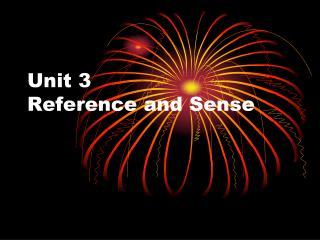 Unit 3 Reference and Sense