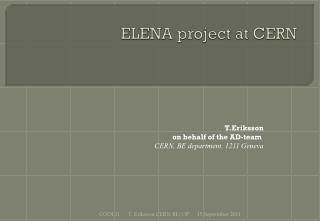 ELENA project at CERN