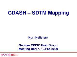 CDASH – SDTM Mapping