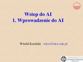 Wstep do AI 1. Wprowadzenie do AI