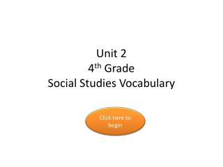 Unit 2 4 th  Grade Social Studies Vocabulary